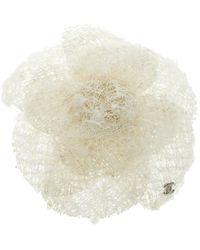 Chanel - Camellia Tweed Flower Pin Brooch - Lyst