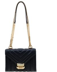 Michael Kors Navy Blue Quilted Leather Whitney Crossbody Bag