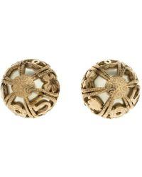 Chanel - Faux Pearl Tone Dome Stud Earrings - Lyst