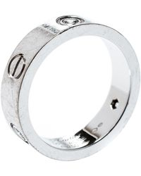Cartier - Love 3 Diamonds 18k White Gold Band Ring Size 56 - Lyst