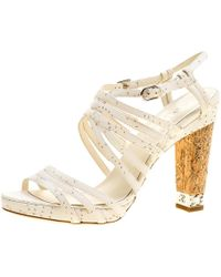 Chanel - Leather Chain Embellished Cork Heel Strappy Sandals - Lyst