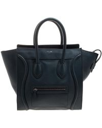 Céline - Navy Blue Leather Mini Luggage Tote - Lyst