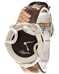Roberto Cavalli Brown Stainless Steel Snake R7251165535 Women's Wristwatch 38 Mm