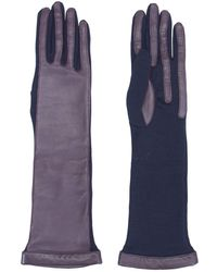 Lanvin Burgundy/navy Leather Wool Long Gloves - Blue