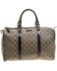 Gucci - /brown Gg Supreme Canvas And Leather Medium Joy Boston Bag - Lyst
