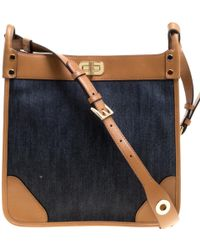 b133c528dad Michael Kors - Navy  tan Denim And Leather Large Sullivan North South Messenger  Bag -