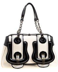Fendi - Off /black Canvas And Patent Leather B Shoulder Bag - Lyst