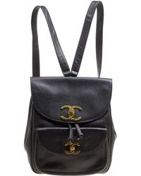 a161c89f4082 Chanel - Caviar Leather Vintage Cc Drawstring Backpack - Lyst