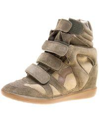 Isabel Marant - Moos Suede Bekett Wedge Sneakers - Lyst