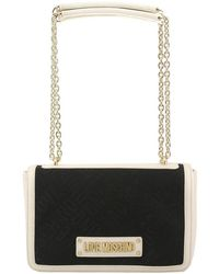 e51caedc57a Moschino - Love Two Tone Signature Fabric And Faux Leather Chain Shoulder  Bag - Lyst