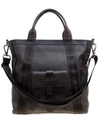 Ferragamo - Dark Pebbled Leather Top Handle Bag - Lyst
