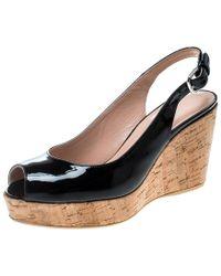 ba0abe75bd8b Stuart Weitzman - Patent Leather Jean Peep Toe Cork Wedge Slingback Sandals  - Lyst