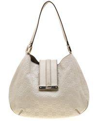 79953f9e9 Gucci Off White Ssima Leather Small New Ladies Vintage Web Hobo