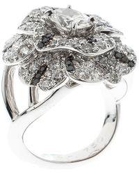 Chanel - Pétales De Camélia Oval Solitaire Diamond 18k White Gold And Black Diamond Cocktail Ring - Lyst
