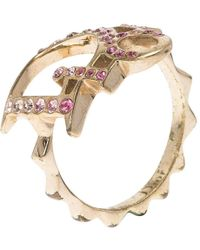 Dior - Pink Crystal Studded Logo Gold Tone Ring Size 51 - Lyst