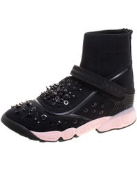 Dior - Embellished Fabric Techno Fusion High Top Trainers - Lyst