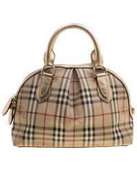 Burberry - Haymarket Check Pvc And Leather Thornley Bowling Bag - Lyst