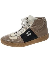 Chanel - Tricolor Quilted Leather Cc High Top Sneakers - Lyst