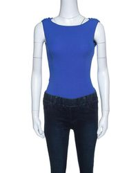 Dior - Royal Blue Silk Cowl Back Detail Sleeveless Body Suit S - Lyst