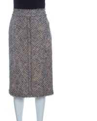 Louis Vuitton - Tan And Blue Textured Fringed Pencil Skirt L - Lyst