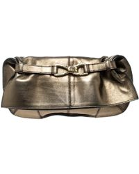 Roberto Cavalli - Gold Leather Fold Over Clutch - Lyst