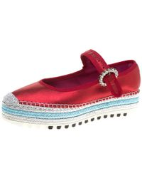 Marc Jacobs - Metallic Red Leather Suzi Crystal Embellished Brooch Mary Jane Espadrille Platforms Size 38 - Lyst