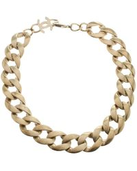 Chanel Gold Tone Chain Link Choker Necklace - Metallic