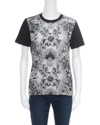 4f6ee6838b6b Louis Vuitton - Monochrome Floral Printed Silk Front Crew Neck T-shirt S -  Lyst