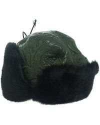 Etro - Dark Leather And Rabbit Fur Aviator Hat M - Lyst