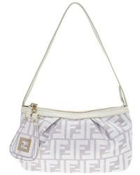 Fendi - Off White/beige Zucca Canvas Pochette Bag - Lyst