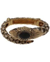 Roberto Cavalli Snake Black Crystal Bangle Bracelet