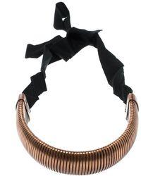 Lanvin - Flexible Bronze Tone Tube Black Ribbon Tie-up Necklace - Lyst