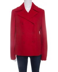 Michael Kors - Red Wool Double Breasted Coat M - Lyst