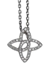 Louis Vuitton - Diamond White Gold Quatrefoil Pendant Necklace - Lyst