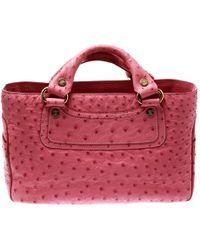 Céline - Pink Ostrich Tote - Lyst