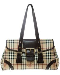 96ed29610f70 Burberry The Small Canter In Haymarket Check Plum Pink in Pink - Lyst