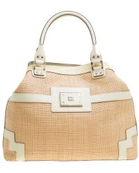 Anya Hindmarch - /cream Raffia And Patent Leather Tote - Lyst