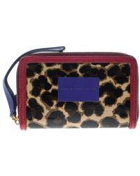 Marc By Marc Jacobs - /red Leopard Print Coated Canvas Wingman Wallet - Lyst