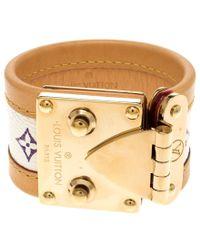 Louis Vuitton - Beige Multicolor Monogram Canvas Leather S Lock Wide Cuff Bracelet - Lyst