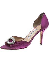 Manolo Blahnik - Fuchsia Pleated Satin Sedaraby D'orsay Court Shoes - Lyst