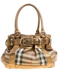 4fa56bf777f Burberry - Metallic Leather And House Check Fabric Bridle Tote - Lyst