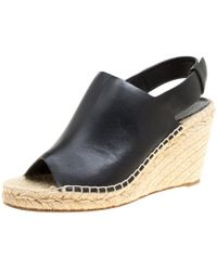Céline - Leather Espadrilles Wedge Sandals - Lyst