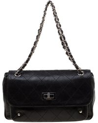 561791ee2b2bc2 Chanel Black Quilted Lambskin Leather Reissue 225 Flap Shoulder Bag ...