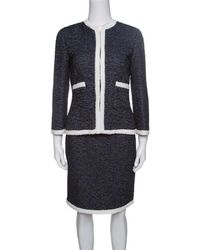 CH by Carolina Herrera - Textured Contrast Trim Detail Skirt Suit S - Lyst