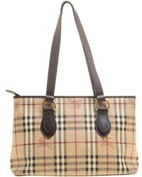 d472b6a00045 Burberry -   Dark Brown Haymarket Check Pvc And Leather Regent Tote - Lyst