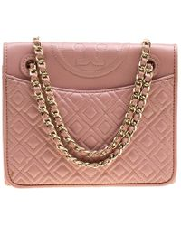 9c810e9c0d60 Tory Burch Fleming Medium Leather Shoulder Bag in Pink - Lyst