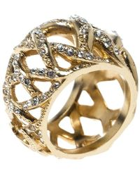 Chanel - Cc Criss Cross Crystal Gold Tone Band Ring Size 55 - Lyst