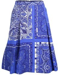 Etro - Paisley Printed Cotton Pleated Skirt L - Lyst