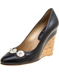 Chanel - Leather Camellia Cap Toe Wedge Court Shoes - Lyst