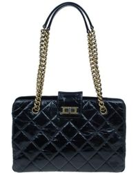 f46a46b0bf1c Chanel Quilted Glazed Leather Medium Castle Rock Top Handle Bag in ...